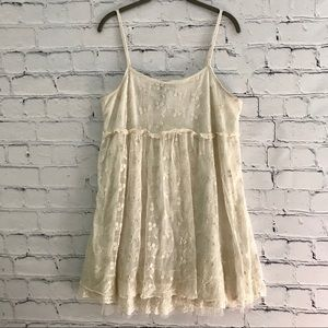 Wetseal Cream Lace Mini Dress Boho Sleeveless